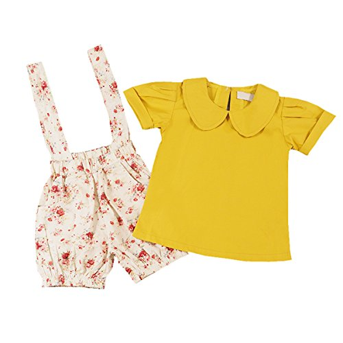 Toddler Kids Girls Peter Pan Collar T-shirt+Suspender Floral Shorts Outfits Set (5-6 Year, Yellow)