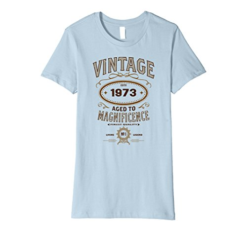 Womens Vintage Aged To Magnificence 1973 44th Birthday Gift T-shirt XL Baby Blue