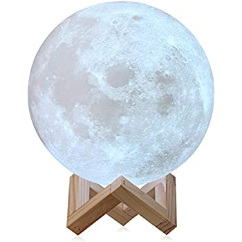 CPLA Extra Large 7.1INCHES Seamless LED Lunar Lamp Dimmable Brightness Warm & Cool White, Touch Control Moon Light Gifts Decorative Diameter 18cm, ...