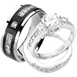 Wedding Rings Set His And Hers TITANIUM STERLING SILVER Engagement Bridal