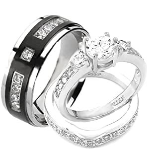 Amazon.com: Wedding rings set His and Hers TITANIUM