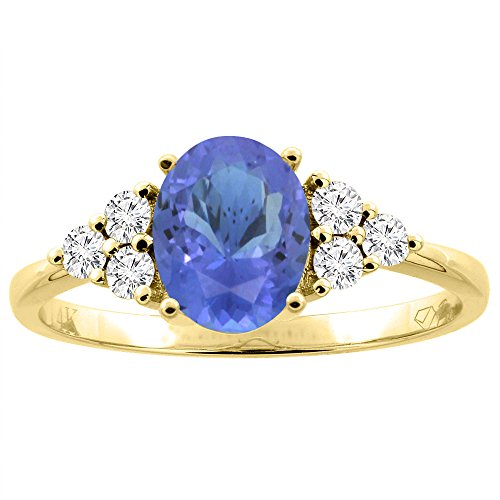 14K Yellow Gold Natural Tanzanite Ring Oval 8x6 mm Diamond Accents, size 10 - 14k Oval Tanzanite Ring