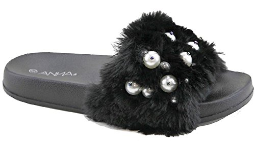 ANNA Polly-12 Women Flip Flop Faux Fur Pearl Slide Slip On Flat Sandal Shoe Slipper Black Black p1T9J6u