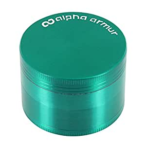 "Alpha Armur 2"" Inch 4 Piece Herb Grinders with Pollen Scraper Spice Herb Grinder with Magnetic Top, Durable Zinc Alloy Construction, Green"