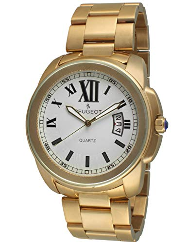 Peugeot Men's 14K Gold Plated Luxury Quartz Watch with Stainless-Steel Strap, 23 (Model: -