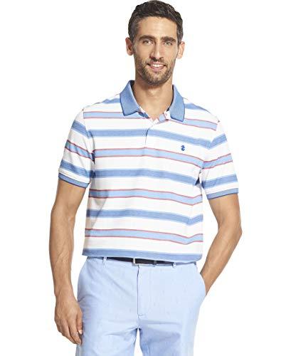 IZOD Men's Advantage Performance Short Sleeve Stripe Polo, Bright White Legacy, Medium
