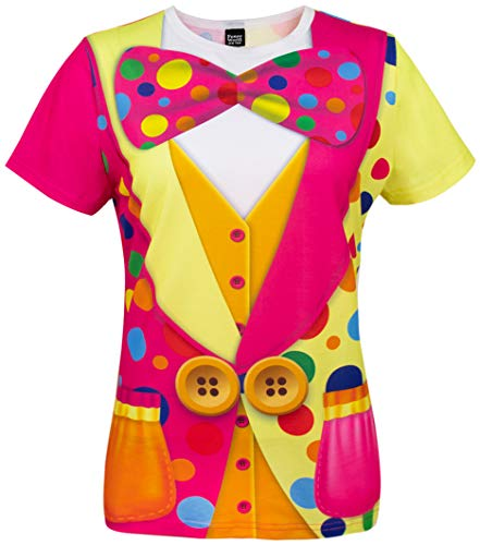 Funny World Women's Clown Costume T-Shirts (S, Multicolored)