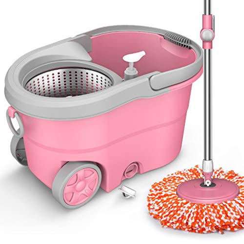 LQY Mop Bucket,Spin Mop Bucket,Mop and Bucket Set,Self-Cleaning System,Wet and Dry Mopping,3 Reusable Ecofriendly Pads,Floor Cleaning,Pink
