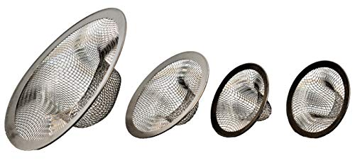 (Sink Strainer Stainless Steel for Kitchen Bathroom or Tub 4 Piece 3 Sizes)