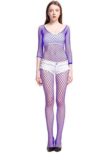 LemonGirl Women Bodystockings Lingerie Long Sleeve Bodysuit Stockings Free Size Blue