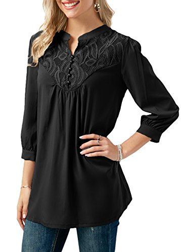 Anlarhh Women's Notch Neck 3/4 Sleeve Front Button Chiffon Floral Lace Patchwork Loose Fit Tunic Blouses Tops