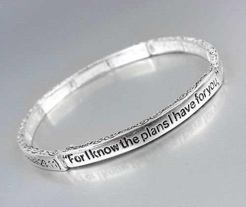 INSPIRATIONAL Bible Verse Scripture JEREMIAH 29:11 Thin Silver Stretch Bracelet