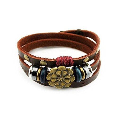 The November Nocturne Lotus Flower 3 Row Alloy Beaded Button Adjustable Brown Leather Wrap Bracelet