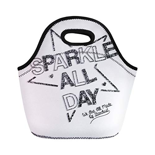 Tee Thermal Heart - Semtomn Lunch Tote Bag Graphic Slogan and Star Heart Tee Beautiful Black Cool Reusable Neoprene Insulated Thermal Outdoor Picnic Lunchbox for Men Women