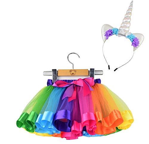(Baby/Girls Age 1-8 Multicolor Truffle Tutu with Bow and Pink Unicorn Floral Headband (Rainbow, Medium))