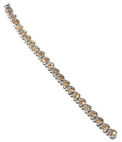 Neerupam collection Elegant Golden-Yellow Citrine Real Gemstones Rhodium Plated Sterling Silver Bracelet for Women ()