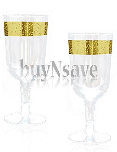buyNsave Clear with Gold Heavyweight Plastic Elegant Wine Cups, Wedding Party Elegant Wine Goblets, Inspiration Collection (40, 5oz. Wine (Plastic Wine Goblets)