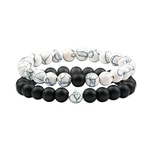 (Citled 2Pcs Couple & Lovers Bracelets Natural Stone Charm Distance 8mm Beads Bracelet-BR-CF004-MBKWT02)