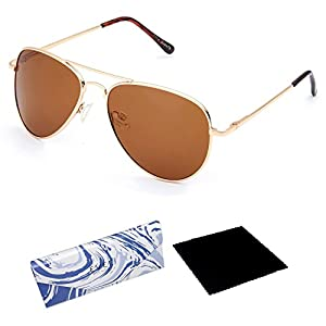 EVEE Unisex Classic Gold Metal Aviator POLARIZED SUNGLASSES with Spring Hinge + EVEE LIMITED EDITION CASE + MICROFIBER CLEANING CLOTH (E-SCPPGDBR) (Gold, Brown)