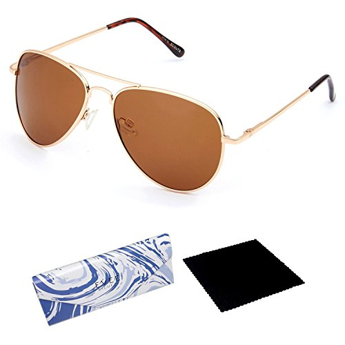 EVEE Unisex Classic Gold Metal Aviator POLARIZED SUNGLASSES with Spring Hinge + EVEE LIMITED EDITION CASE + MICROFIBER CLEANING CLOTH (E-SCPPGDBR) (Gold, - Spring Sunglasses