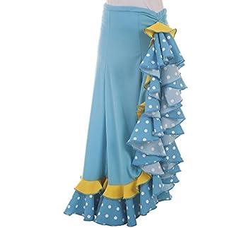 Disfraces Llopis Falda Sevillana Azul con Topos: Amazon.es ...