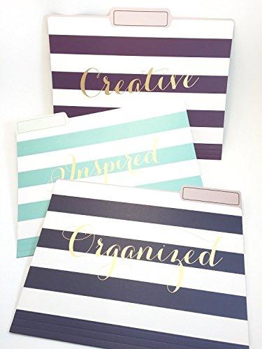 Eccolo World Traveler Set of 9 File Folders, Organized Wide Stripes (T617B)