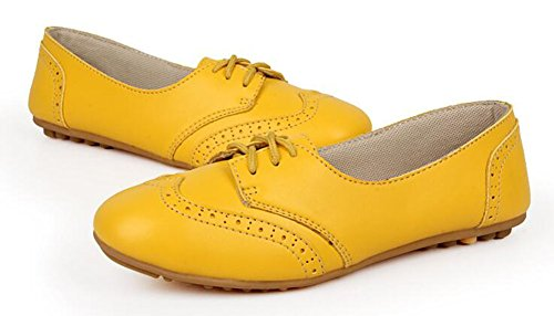 Chfso Womens Trendy Brogue Solid Lace Up Tomaia Piatta Slip-resistant Flat Giallo