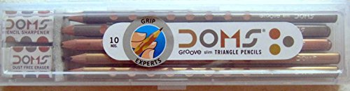DOMS Groove Slim Triangle Pencils 10 Pencils + Plastic Box + Eraser & Sharpner Photo #2