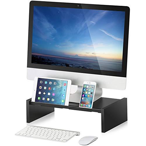 Wood Monitor Stand Riser Storage Organizer for Computer,Printer,iMac,Laptop,Desk with Tablet & Phone Holder,Cable Management Slot,Black