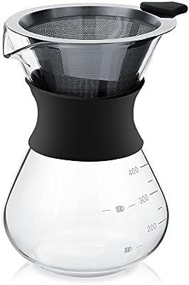 Cafetera manual filtro de café 400 ml para over jarra de cristal con filtro de café permanente de acero: Amazon.es: Hogar