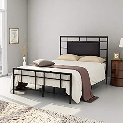 "Elegant Home Products Contemporary Style Platform Metal Bed Frame Foundation Headboard Footboard Heavy Duty Steel Slabs Queen Size Black Finish with Black PU Headboard 709GB (Queen, Black) - *High Quality Bed Frame: All frames are made of 100% sturdy metal tube. Durable reliable metal construction.Strong mattress support with many steel slats prevents sagging and increases mattress life,max support around 660-770lb. *Enough Storage Space: The queen size bed stands 12"" off the floor for easy storage. Sufficient Under Bed Storage space to put some boxes or clothes or quilts for you *Outer Dimension: 59.84""(Width)x83.46""(Length)x46.46""(Height),12""height from the floor for under-bed storage space - bedroom-furniture, bedroom, bed-frames - 418%2BSXMxbNL. SS400  -"