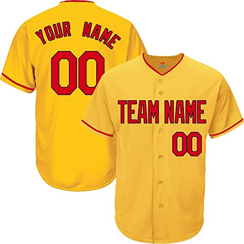 YNMYS Yellow Custom Baseball Jersey for Men Women Youth Button Down Embroidered Team Player Name & Numbers S-5XL - Design Your Own