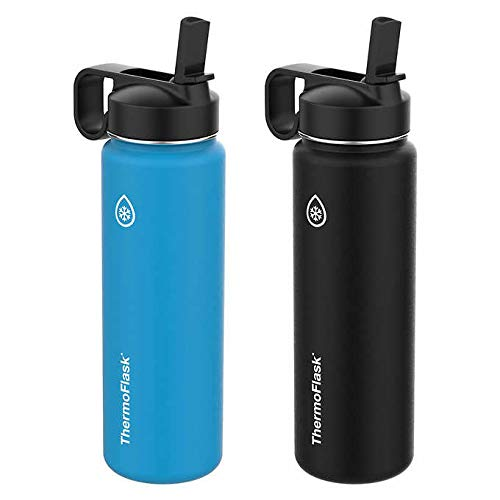 ThermoFlask 24-Ounce Double Wall Vacuum Insulated Stainless Steel Water Bottles, Blue, Black, ()
