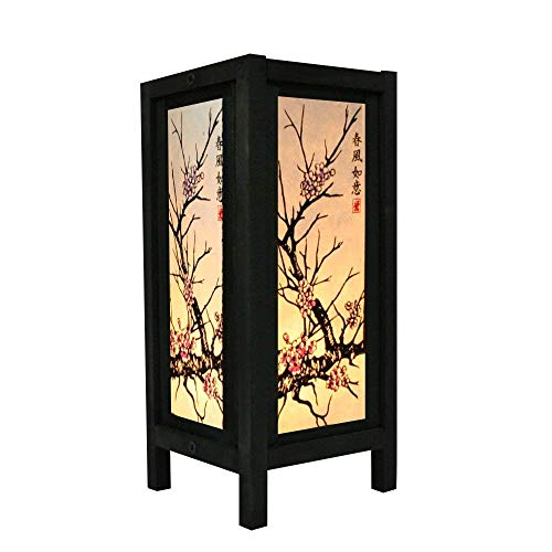 Oriental Lanterns - Cherry Blossom White Black Pink Painting