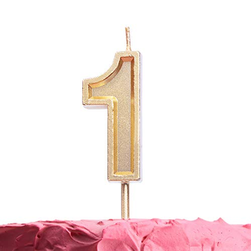 Get Fresh Number 1 Birthday Candle - Gold Number One Candle on Stick - Elegant Number Candles for Birthday Anniversary Wedding Party - Perfect 1st Birthday Candle for Cake Decoration - Gold 1 Candle ()