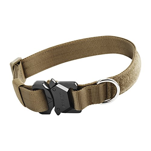 ICEFANG Tactical Dog Collar,Metal Buckle,Hook and Loop Panel for Dog Patch,Stainless Steel Leash Clip D-Ring (1 Wide(Neck 15-20), Coyote Brown-No Handle)