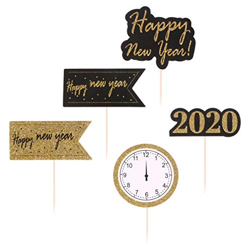 Amosfun 50 Pcs 2020 Happy New Year Cake Toppers New Year Eve Party Cake Picks Cupcake Dessert Clock Shape Toppers Baking Supplies