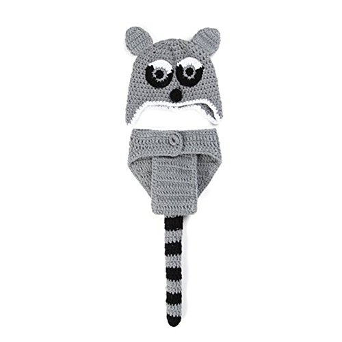 CX-Queen Baby Infant Crochet Knit Photography Props Hat Grey Squirrel Costume (Grey Squirrel Costume)