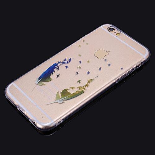 Funda iPhone 6/6S 4.7 SainCat Funda de Silicona TPU Carcasa Transparente Clara Soft Clear Case Cover Funda Carcasa Suave Ligera Caja Anti Rasguños Anti Choque Funda protectora con Diseño pintado Patr Pluma