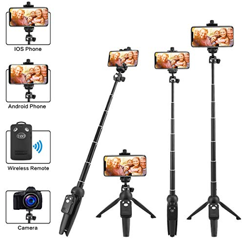 LOVAIN Selfie Stick Tripod Stand, Mobile Cell Phone Tripod, 40 Inches Camera Mini Tripod, Extendable with Wireless Remote,for iPhone X/Xs/Xs Max/7/8/6/6s Plus/Samsung/GoPro Hero and Other Smartphone