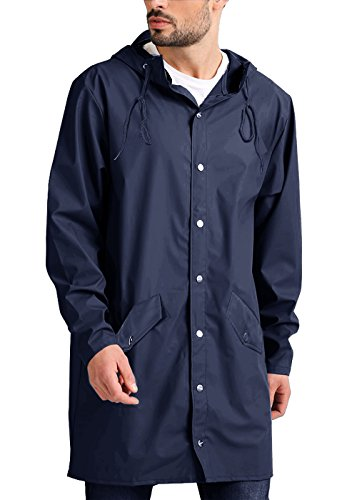 JINIDU Men's Lightweight Waterproof Rain Jacket Packable Outdoor Hooded Long Raincoat