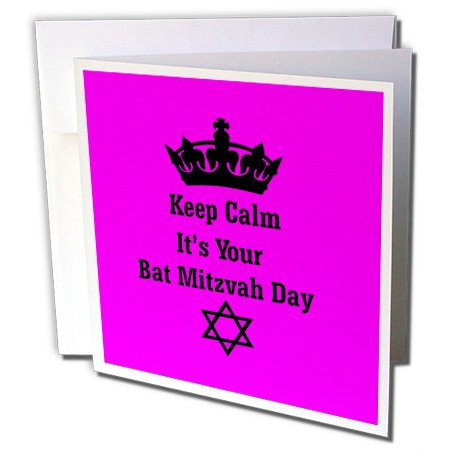 3dRose Image of Keep Calm Bat Mitzvah with Star of David and Crown - Pink - Greeting Card, 6