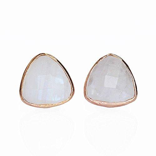 Vermeil Triangle Earrings - Rainbow Moonstone triangle stud earrings, everyday earrings, Vermeil Rose Gold bezel set studs, Birthday gift, Handmade earrings.