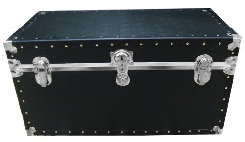 Biltmore Trunk 36'' Classic Dormitory Camp Storage Trunk Nickel Hardware - Black