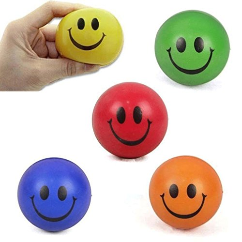MONOMONO-1Pc 6.3cm Squeeze Ball Smile Face Hand Wrist Exercise Stress Relief Venting - In Rhode Island Malls