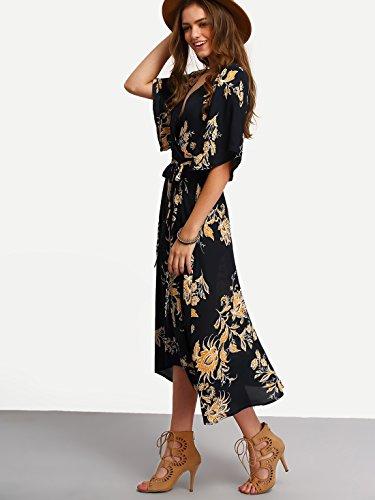 Milumia Women's Boho Deep V Neck Floral Chiffon Wrap Split Long Dress Black XL