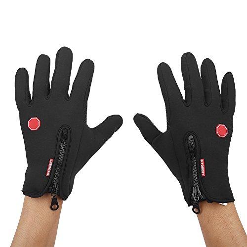 eecoo Unisex Outdoor Cycling Gloves, Full Finger Biking Gloves Touch Screen Winter Warm Sports Gloves, Waterproof Windproof Anti-slip Gloves for Motorcycle Bicycle Biking Racing Men/Women(S-Black)