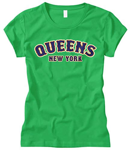 Cybertela Women's Queens New York NY Fitted T-Shirt (Kelly Green, ()