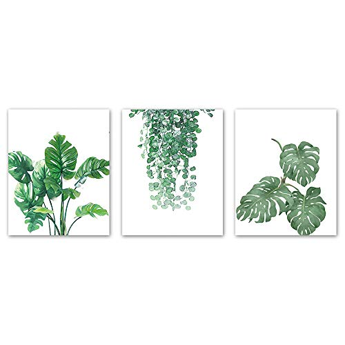 Set Art Painting Print (Contemporary Simple Green Leaf Painting Wall Art Decor Watercolor Plant for Living Room Bathroom Canvas Painting for Bedroom Kitchen Artwork Canvas Prints Set of 3 8x10 inch unframe)