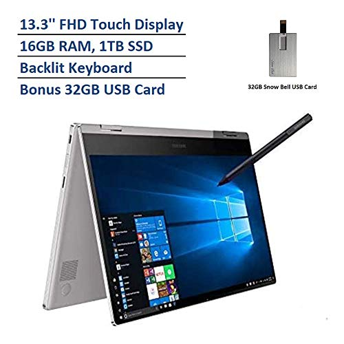 2020 Samsung Notebook 9 Pro 2-in-1 13.3″ FHD Touchscreen Laptop Computer, Intel Core i7-8565U Processor, 16GB RAM, 1TB SSD, Backlit Keyboard, Windows 10, Platinum, 32GB Snow Bell USB Card